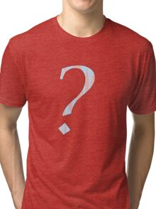 Question Mark in Creamsicle Pink and Baby Blue Tri-blend T-Shirt