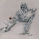 Joe Root - original charcoal drawing by Paulette Farrell
