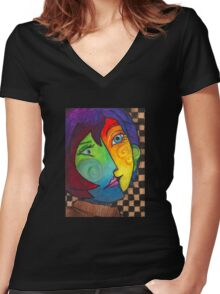 Picasso Portrait Women's Fitted V-Neck T-Shirt