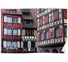 Typical timbered houses in Colmar, Alsace, France (wide angle) Poster