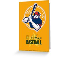 All-American Star Baseball Retro Poster Greeting Card