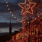 Christmas Lights and a Church, in Colmar, Alsace, France by remos