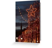 Christmas Lights and a Church, in Colmar, Alsace, France Greeting Card