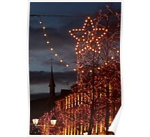 Christmas Lights and a Church, in Colmar, Alsace, France Poster