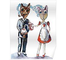 Retro Cats Having Tea Poster