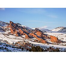 Snow Capped Red Rocks Amphitheatre Photographic Print