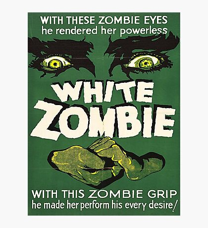 Cool White Zombie Film Poster Photographic Print