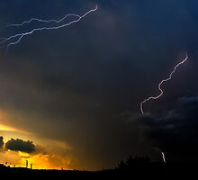 Sunset Lightning by Marc  Rossmann