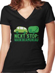 NEXT STOP: Waikikamukau funny fake Kiwi New Zealand travel destination Women's Fitted V-Neck T-Shirt