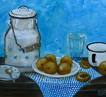 Still Life with apricots and enamelware by Sonja Peacock