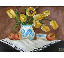 Still Life with apricots and Tulips Photographic Print