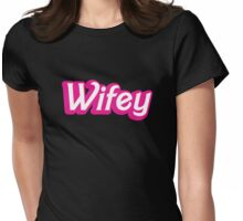 Wifey in cute bubble pink font Womens Fitted T-Shirt