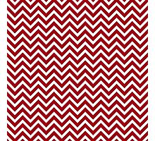 Oxblood red white small chevron zig zag modern pattern Photographic Print