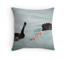 The Swan Family of Laurimar Lake Throw Pillow