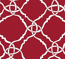 Santa Red Quatrefoil Solid by aygeartist