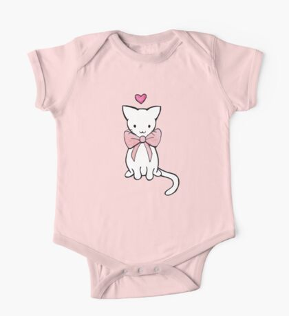 Kitten with Pink Bow One Piece - Short Sleeve