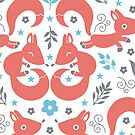 Foxes love blue flowers pattern by oksancia
