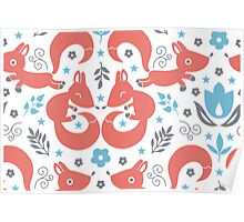 Foxes love blue flowers pattern Poster