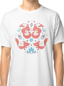 Foxes love blue flowers pattern Classic T-Shirt