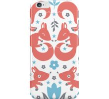 Foxes love blue flowers pattern iPhone Case/Skin