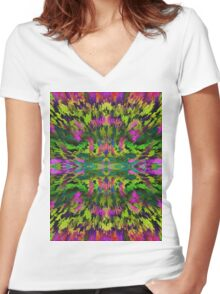 Virtual Psychedelic Space Women's Fitted V-Neck T-Shirt