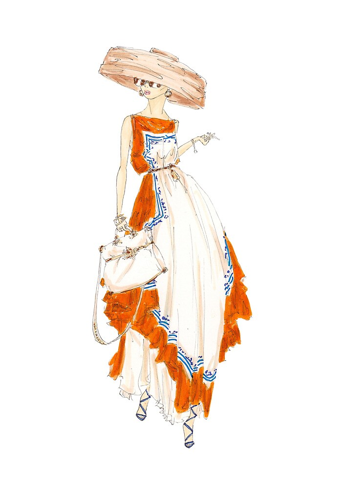 Paris Summer Dress Fashion Art by Alex Newton