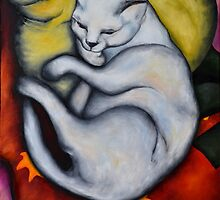 Franz Marc's Cat on a Yellow Pillow (copy) by Zorrria