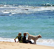 Grommets, dog, surf & sand by Jane McDougall