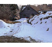 Winter Truck Barn Photographic Print