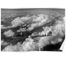 D-Day Hawker Typhoons diving black and white version Poster