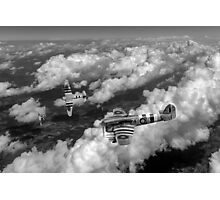 D-Day Hawker Typhoons diving black and white version Photographic Print