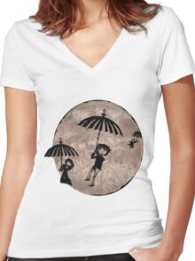 Baudelaire Umbrellas Women's Fitted V-Neck T-Shirt