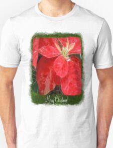 Mottled Red Poinsettia 1 Ephemeral Merry Christmas P1F1 T-Shirt