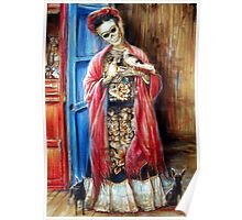 Day of the Dead 'Frida with Doves' by Heather Calderon Poster