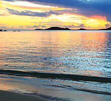 Shimmering Caribbean Sunset Seascape by Roupen  Baker
