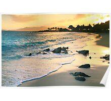 Golden Sunrise on Sapphire Beach Poster