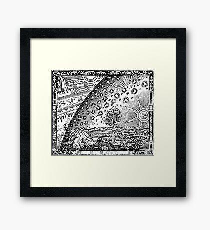 Flammarion - Psychedelic renaissance woodcut Framed Print