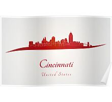 Cincinnati skyline in red Poster
