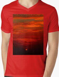 Dramatic red sunset Mens V-Neck T-Shirt