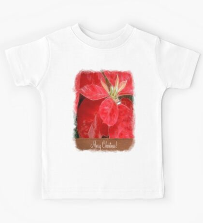 Mottled Red Poinsettia 1 Ephemeral Merry Christmas S1F1 Kids Tee