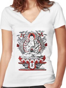 Buddha Meditating in a Lotus Flower Women's Fitted V-Neck T-Shirt