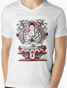 Buddha Meditating in a Lotus Flower Mens V-Neck T-Shirt