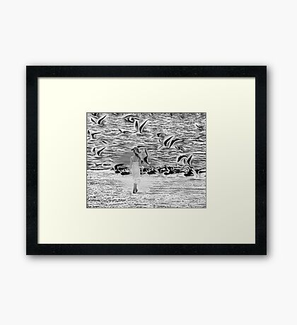 Surreal with reality walk on the beach Framed Print