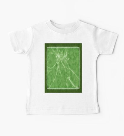Mottled Red Poinsettia 2 Outlined Green Baby Tee