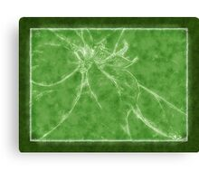 Mottled Red Poinsettia 2 Outlined Green Canvas Print