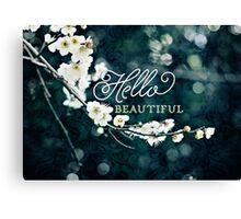 Hello Beautiful White Plum Blossoms Blue Green Brocade Canvas Print