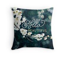 Hello Beautiful White Plum Blossoms Blue Green Brocade Throw Pillow