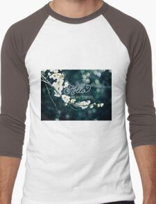 Hello Beautiful White Plum Blossoms Blue Green Brocade Men's Baseball ¾ T-Shirt