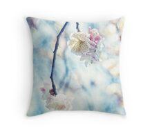 White Pink Plum Blossoms Vintage Concrete Texture Throw Pillow