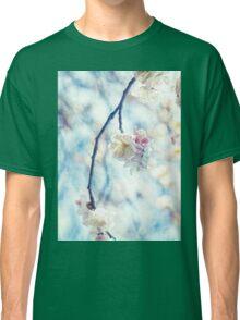 White Pink Plum Blossoms Vintage Concrete Texture Classic T-Shirt